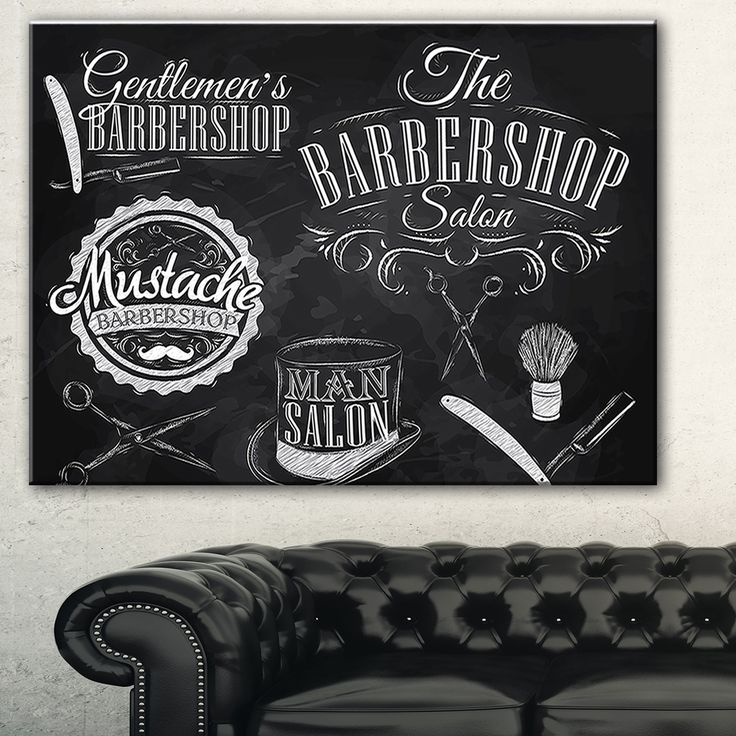 Designart 'Set Barbershop' Digital Art Canvas Art Print                                                                                                                                                                                 Más
