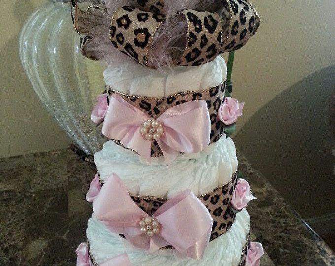 Tres niveles acudieron Cheetah pañal rosa pastel / guepardo bebé ducha central / pañal elegantes tortas / bebé ducha regalo