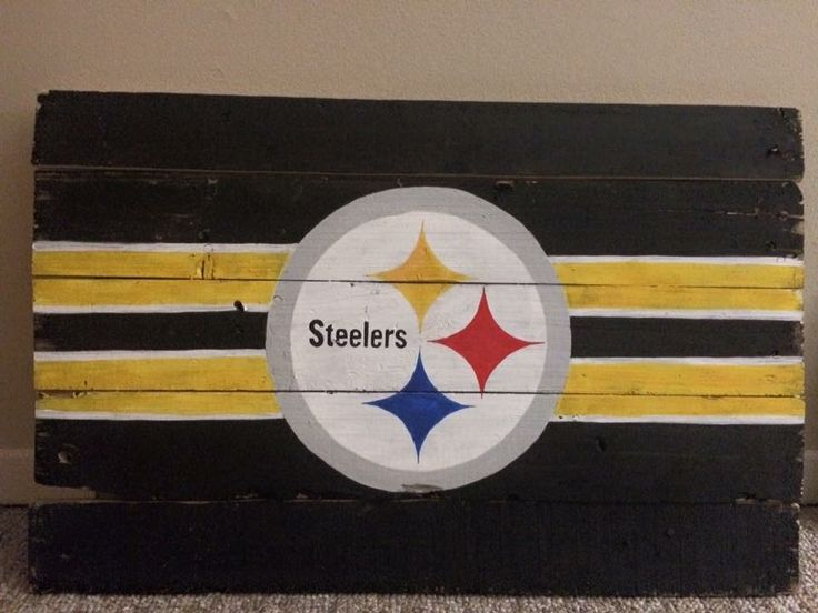 Pittsburgh Steelers Football Logo painted wood sign man cave