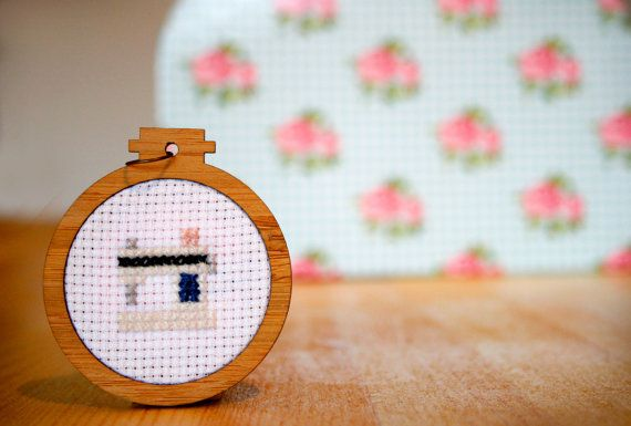 Sewing Machine Cross Stitch Pendant in Mini by WhistlingTeapot, $35.00