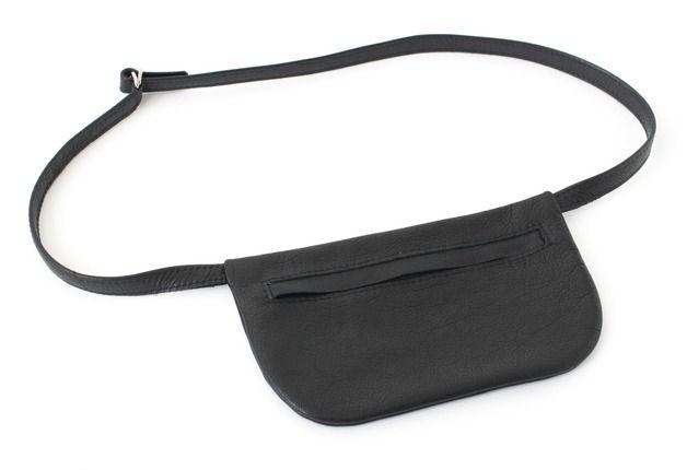 Hüft- & Gürteltaschen - Flache Gürteltasche echt Leder Schwarz - ein Designerstück von alexbender bei DaWanda