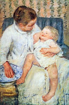 Mother washing the tired child by Cassatt. Order from DEKORAMI as a poster, canvas print, mural. Zamów jako obraz na płótnie, plakat lub fototapetę na DEKORAMI.pl
