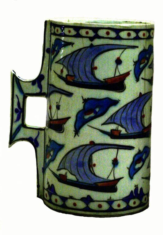 Turkey Iznik Tankard (Hanap) with Ships, late 16th century