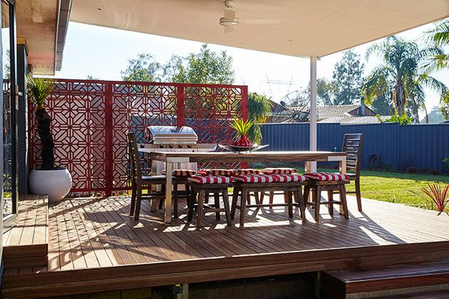 QAQ is a proud House Rules supplier. We are so pleased Ben & Danielle used one of our decorative screen designs, 'Washington' for this patio on their backyard reveal.  Exteriors Reveal: NSW Backyard - Photos - House Rules - Official site