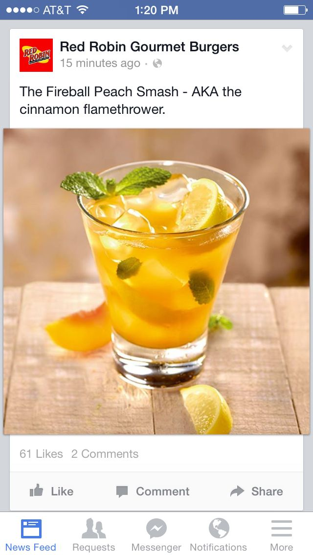 FIREBALL® Peach Smash – This cocktail features a delicious explosion of FIREBALL® Cinnamon Whisky, peach purée, lemon wedges and fresh mint, all mixed up with Red Robin's house-made sweet & sour mix.