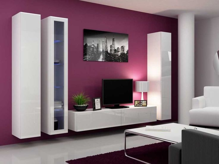 Cupboard Wall Pic with vertical and horizontal white wooden cabinet and black tv also white table lamp on purple wall contemporary design of wall mount tv cabinet for your living room decoration