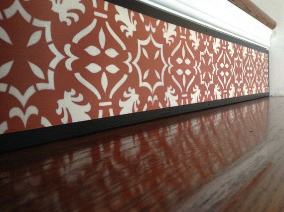 Damask Style Burgundy Red Stair Riser / Alternative To Stair Stencils, Stair  Stickers And Stair