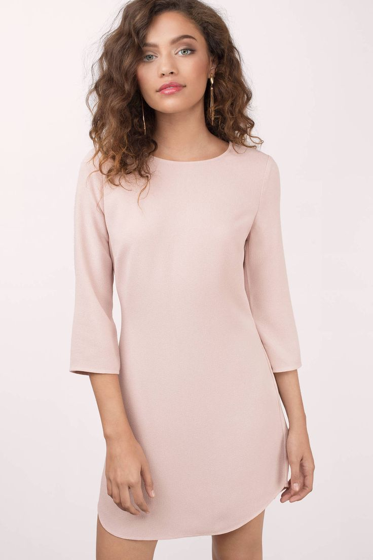 """Search """"Think Of You Blush Shift Dress"""" on Tobi.com! This is the secret weapon you need this spring and summer to replace your LBD. pink high neck 3/4 sleeve conservative dolphin hem curved bridesmaid wedding column low back simple minimal bridesmaids cute sweet timeless classy cheap affordable save money for women dresses guest stylish fashionable elegant modest"""