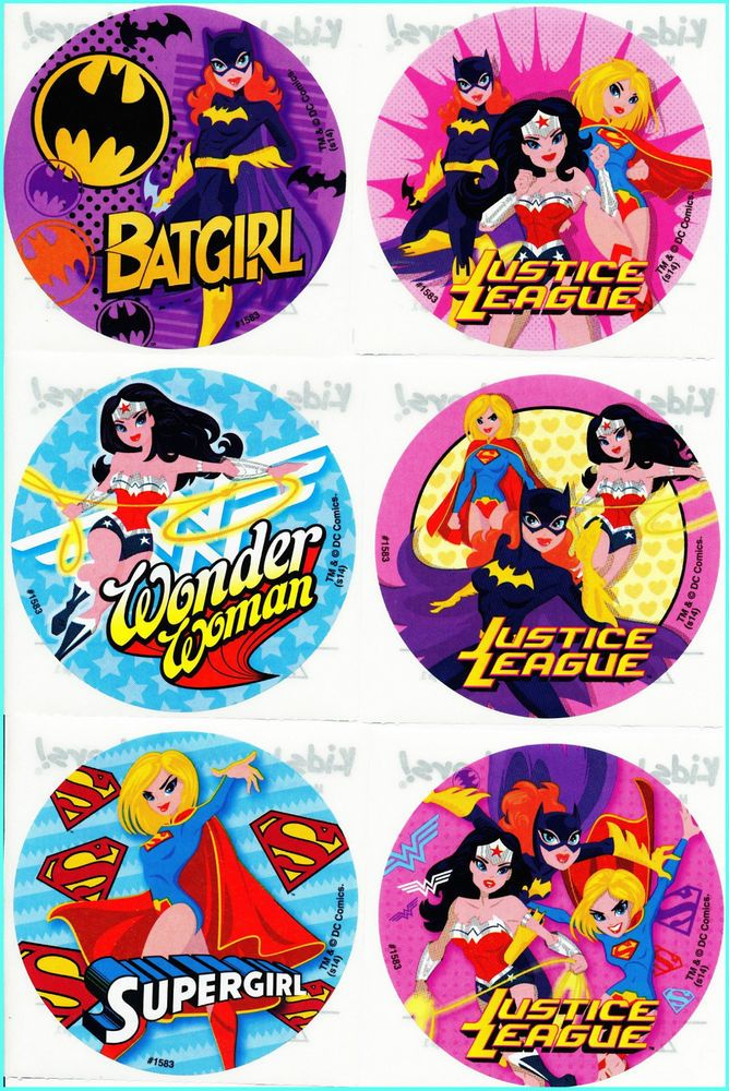 947f6446fb Details about Batgirl Supergirl Wonder Woman Stickers x 6 - Superheroes  Favours Party Birthday