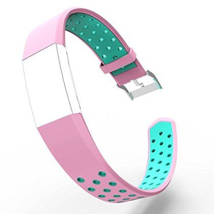 """Fitbit Charge 2 Band Stapes,Flexible and Durable TPE Material with Breathable Holes Wirstbands Accessories for Fitbit Smartwatch (Pink, Large 6.7-8.1"""") for only $0.10! That's 99% off the regular price."""