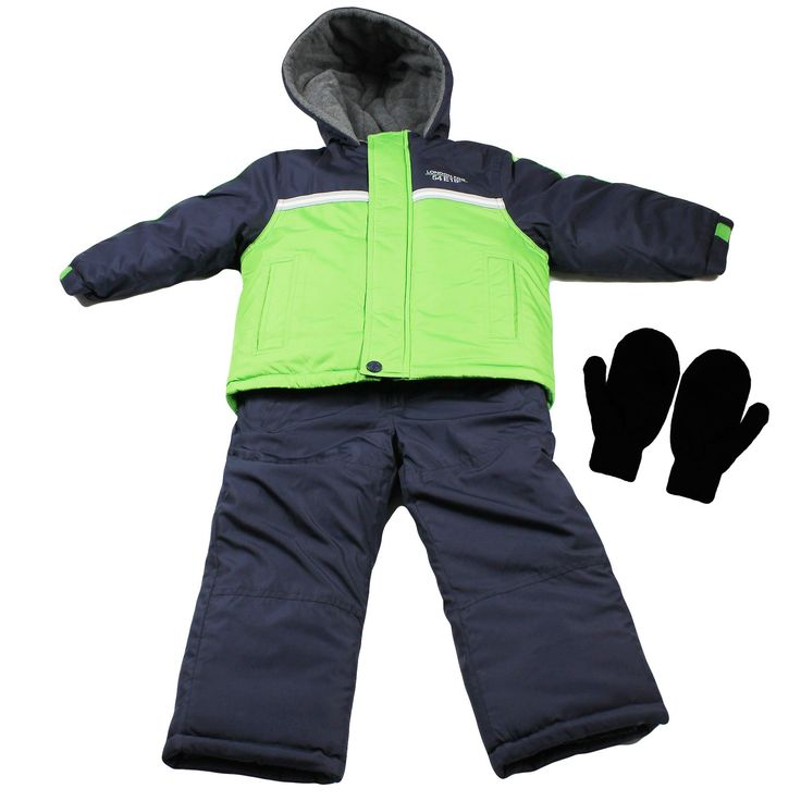 London Fog Boys Heavy Winter Jacket Snow Bib Overall Pants and Mittens Green 4T. BUNDLE INCLUDES: 1 London Fog heavy weight boys winter coat, Snow bib overall pants, and 1 pair of kids magic stretch mittens (2T-4T) gloves (4-7). Each boys winter jacket and snow pants have a hypo-allergenic polyester filling. Polyester filling is a great down jacket alternative for children with allergies. Winter jacket and snow bibs have a water resistant and wind resistant outer shell. Jacket is thicker...