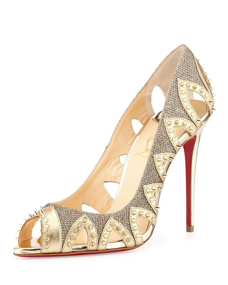 Pinder City Spiked Red Sole Pump, Gold by Christian Louboutin at Neiman  Marcus.