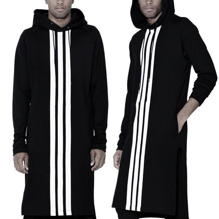 Long Black White sttripe Man Hiphop hoodies Sweatshirt extended kanye west…