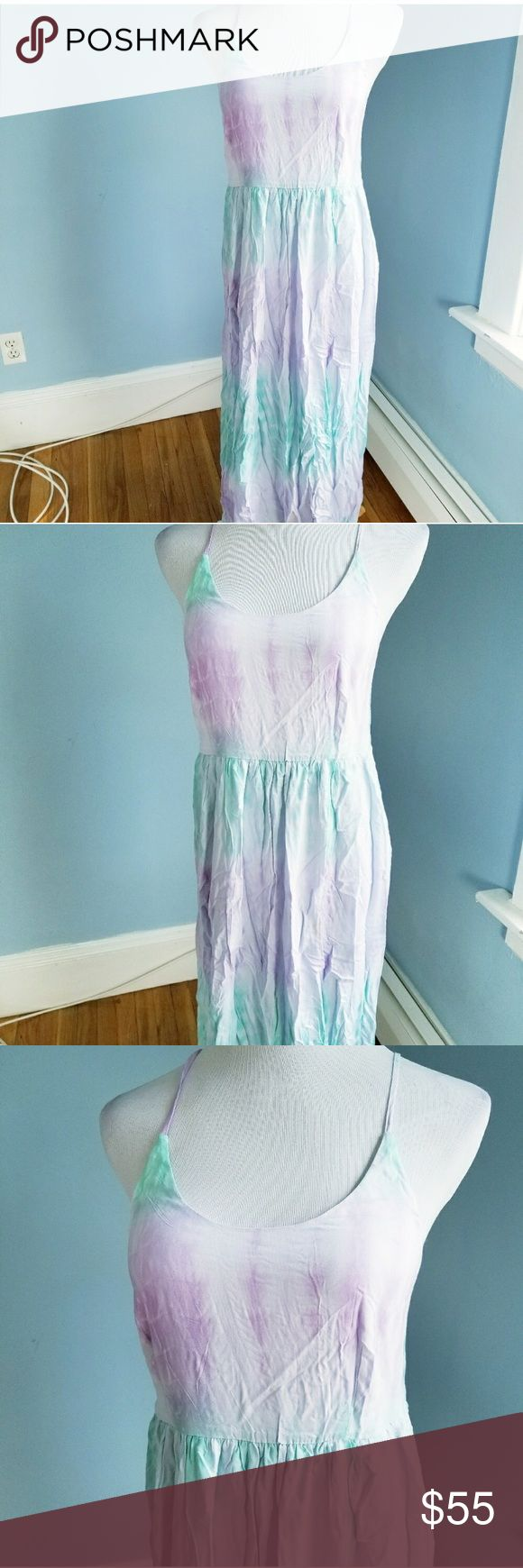 Lilac and mint maxi dress 100% rayon   Lilac and mint tie dye color with lining from chest to mid thigh, scooped neckline and spaghetti straps   Small(4-6) Dresses Maxi