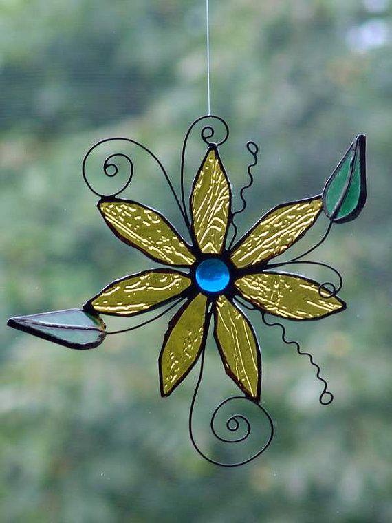 3d Stained Glass Suncatcher Flower By Saintglass On Etsy 35 00