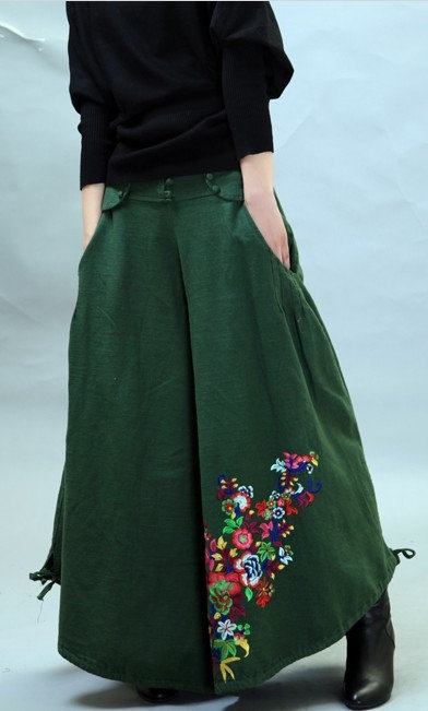 green linen pants wide leg woman pants