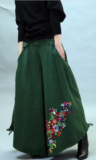 green linen pants wide leg woman pants