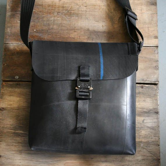 recycled tire bag, seat belt strap
