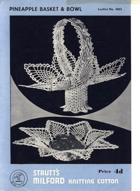 Vintage Crochet Pattern Pineapple Basket and by YesterdaysWhimsy, $1.99