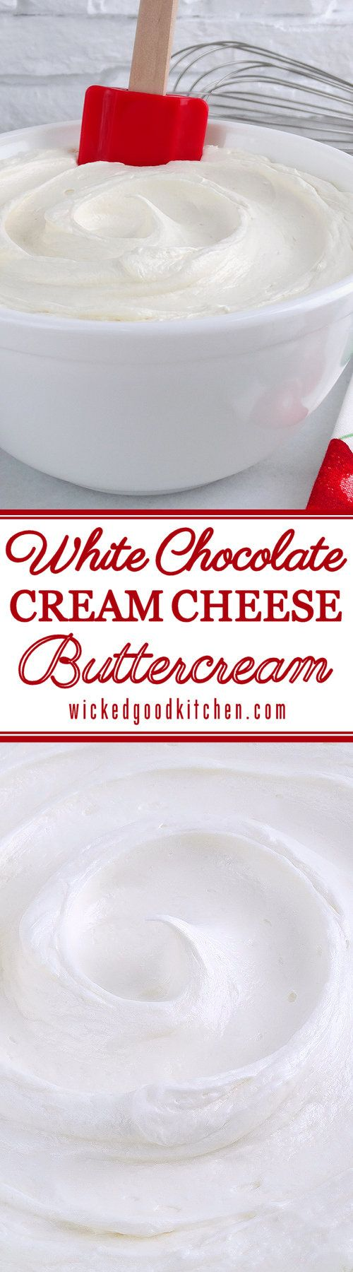 White Chocolate Cream Cheese Buttercream Frosting ~ This special frosting is full of buttery flavor and is creamy, light and fluffy. Just the right amount of butter, cream cheese and white chocolate is used to create a buttercream that not only pipes beautifully, but has the texture of mousse and tastes just like White Chocolate Cheesecake! | cake filling frosting recipe