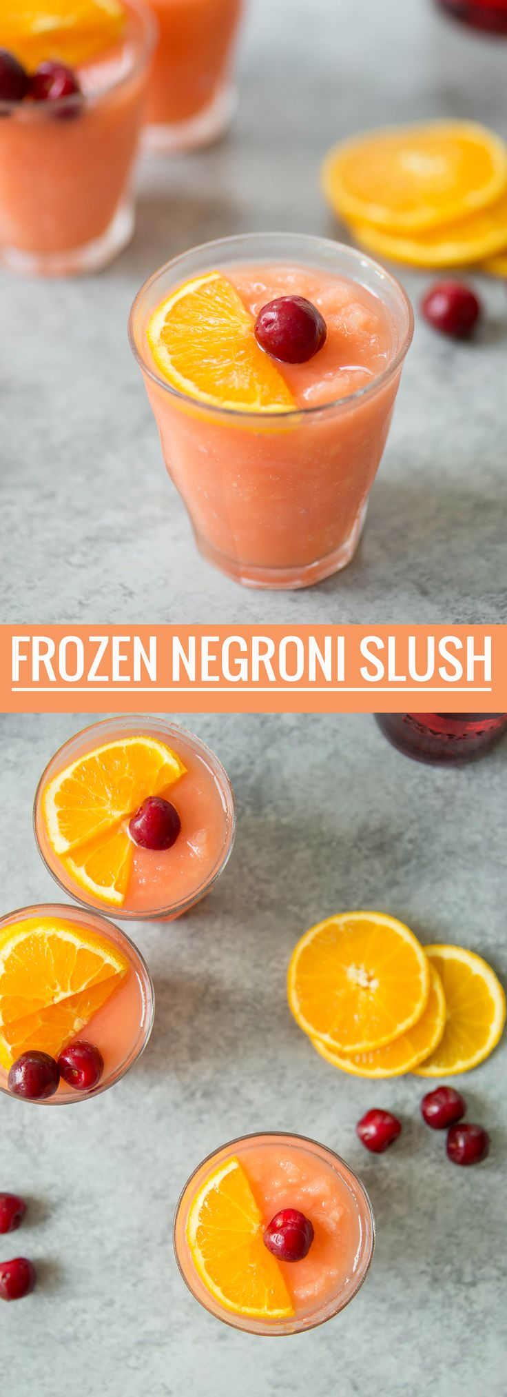 This is THE drink for summer. A frozen orange-ginger negroni slush, perfect for hot days. Campari, gin, vermouth, ginger syrup and orange juice. | www.delishknowledge.com
