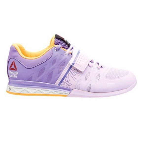 Reebok Women's CrossFit Lift Plus 2.0 8.5 NEW in box! Never worn-Color Purple Glow/Lush Orchid/Solar Gold/Black (M45047).                     Introducing the Reebok CrossFit Lifter 2.0, the update to our original Lifter. This shoe features breathable mesh in the toe for superior comfort and fit, and an adjustable strap to lock you over the platform and deliver immediate response while maintaining flexibility. 3D FuseFrame technology provides superior fit and comfort, and allows a no break-in…
