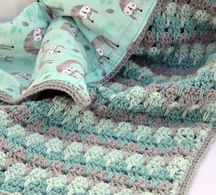 Adorable Sloth Cotton Fabric Lined Crochet Baby Blanket