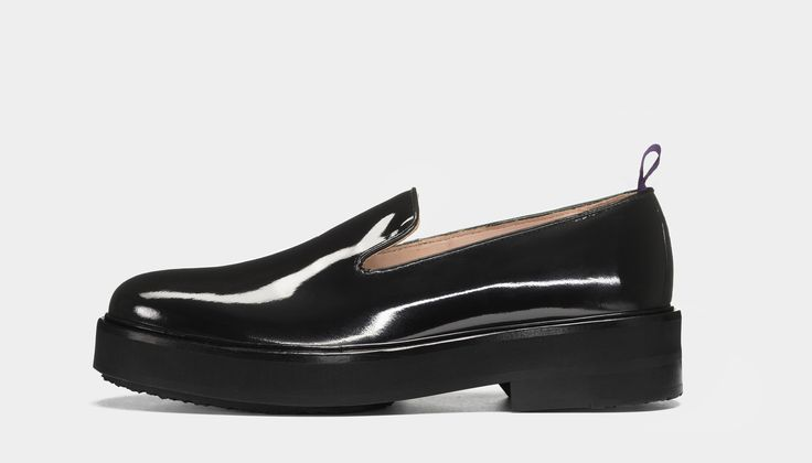 #Eytys Palacio Patent Black. Evening slippers in black patent with chunky contrasting outsoles.