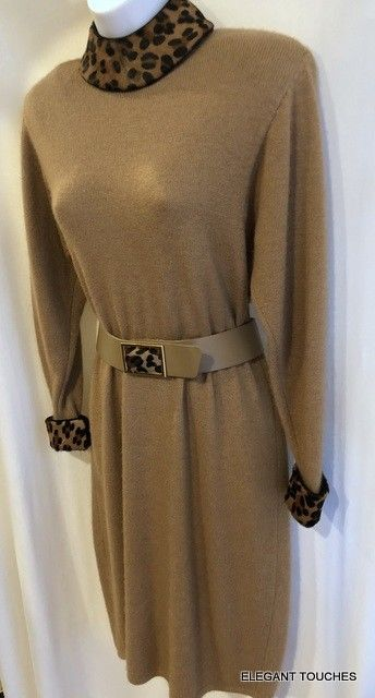 ST. JOHN COUTURE vgt solid BROWN Camel Animal Print Trim LS Long Wool DRESS 4 #StJohnCouture #SweaterDress #Business