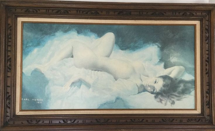 "Earl Moran Framed Nicolle Lounging Nude1970 Print on Canvas 18"" x 36"""