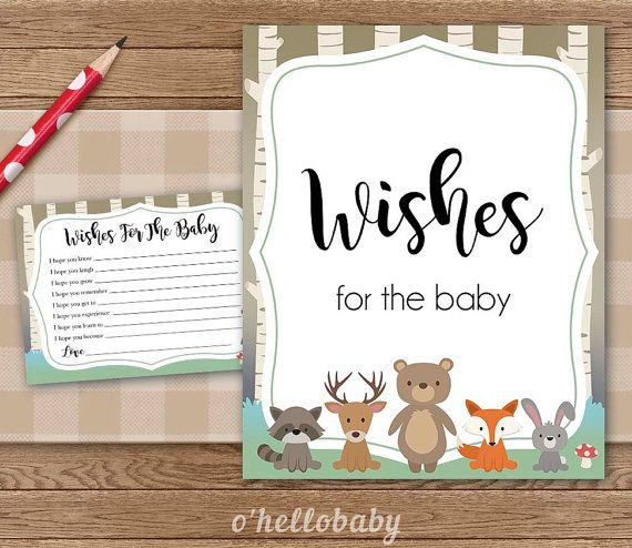 Wishes For The Baby   Woodland Animals Baby Shower Wishes Cards   Baby Boy  Baby Girl Gender Neutral Baby Shower Party   008
