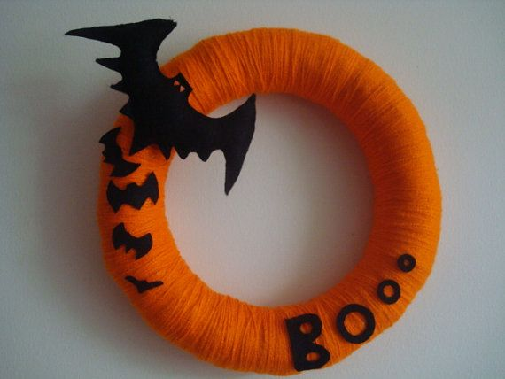 SALE ITEM - Free Shipping for USA buyers - Handmade Halloween Yarn Wreath with Felt Bats-Door-Wall Decoration-14 in Wreath- Ready to Ship