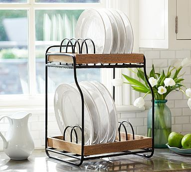 Vintage Blacksmith Double Dish Rack #potterybarn. I want this for my kitchen!!! (use for cookbooks)
