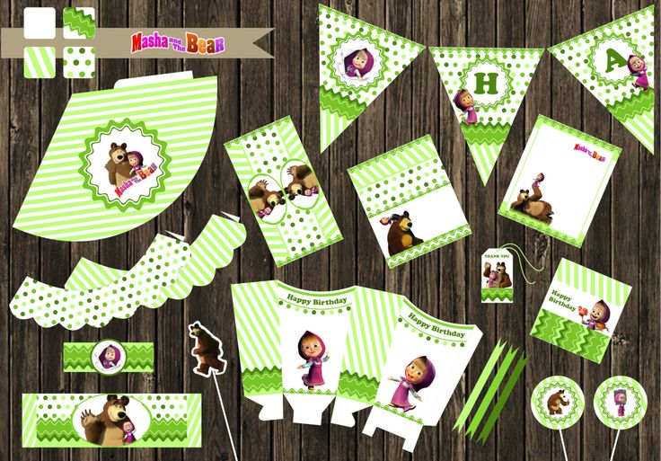 Personalized Masha and the Bear Kids Birthday Party