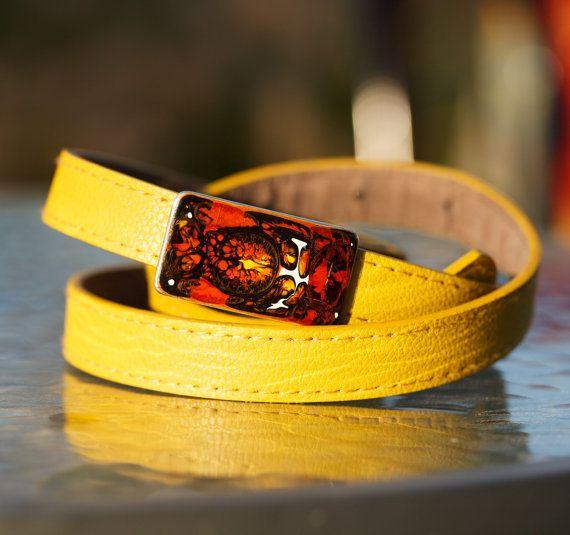 Painted Piotr buckle belt Pink belt Yellow belt by SPIRALICA