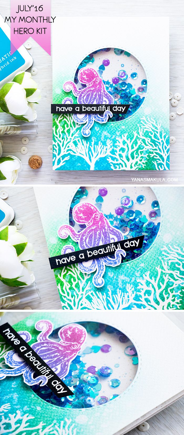 Create a magical underwater shaker card with a fun little octopus with the help of Hero Arts July'16 My Monthly Hero Kit. For more details, visit http://www.yanasmakula.com/?p=54149