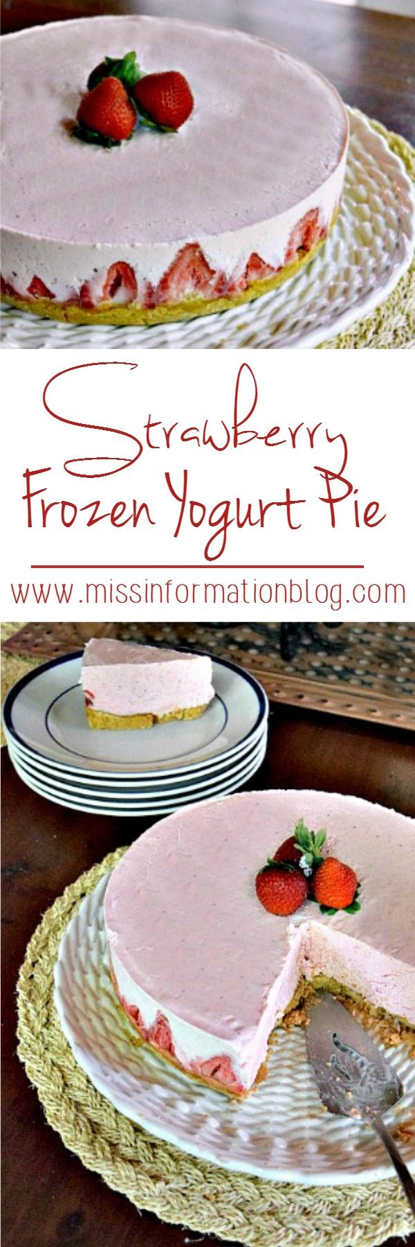 Strawberry Frozen Yogurt Pie is the perfect summer time treat and a great dessert for the 4th of July! Made with a pretzel graham cracker crust it's a perfect salty sweet dessert.