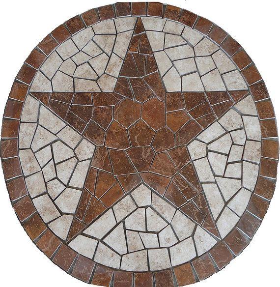 36 Inch Round  Santa Cruz Texas Star Mosaic Marble Medallion Backsplash Wall or Flooring Design
