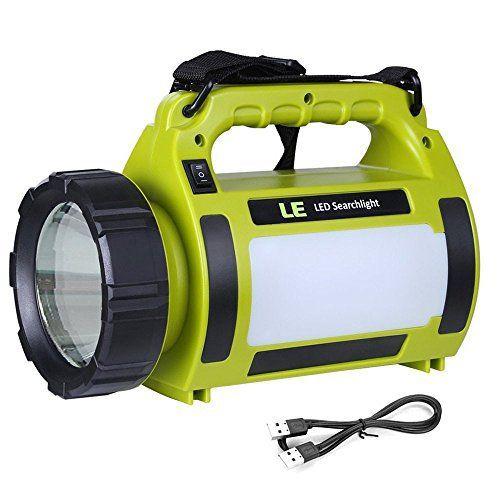 LE 1000lm Lanterne LED Rechargeable 10W, Projecteur Portable et Ultra Léger, Eclairage Polyvalent, 3 faces lumineuse, 2 Niveaux de…