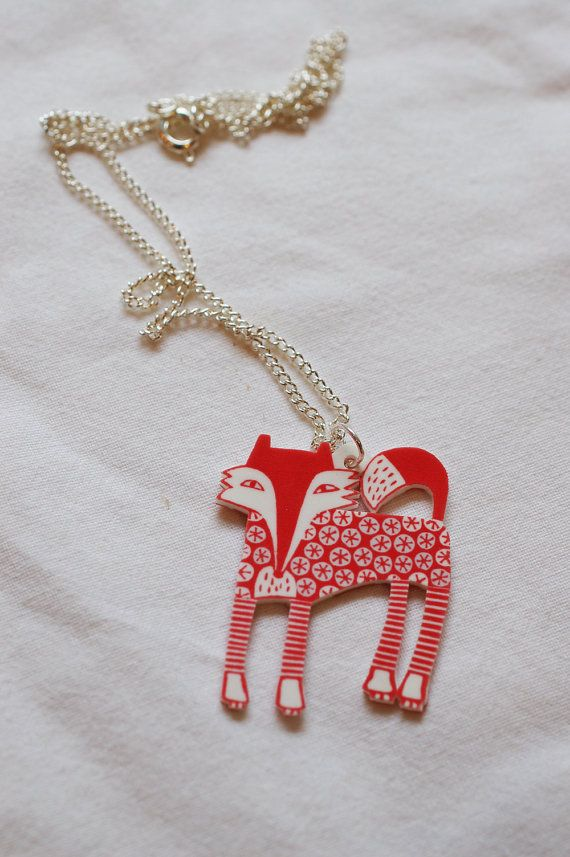 Red fox necklace by ruthbroadway on Etsy Linocut on shrink plastic!