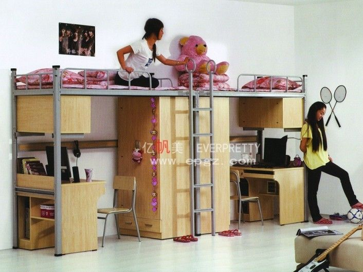 Student Dormitory Triple Bunk Bed With Desks Metal Bunk Bed With Study Desk University