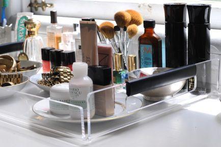 .: Bathroom Design, Organizations Ideas, Bathroom Makeup Display, Beautiful Trays, Bathroom Interiors Design, Patio Ideas, Bathroom Counter, Interiors Design Bathroom, Beautiful Products