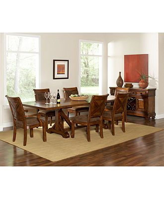 Mandara Pc Dining Set Dining Trestle Table  Side Chairs - Macys dining room sets