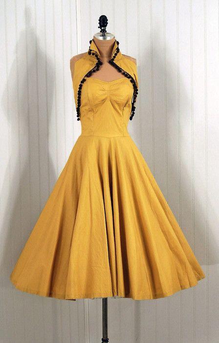 A Hawkeyes Dress!!!  1950's Vintage Joni's Party Sun Dress with pom-pom detail.