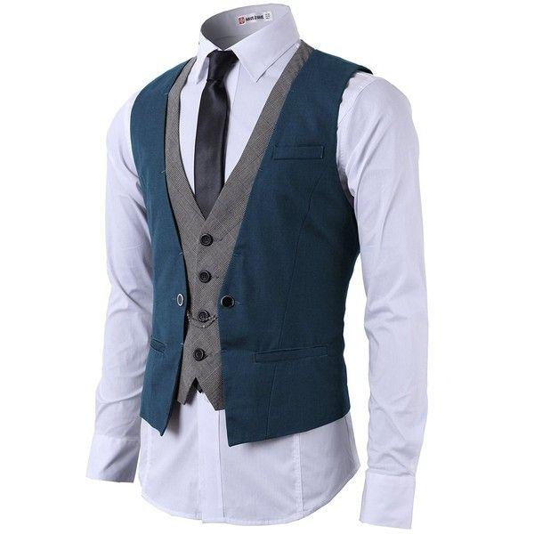 H2H Mens Formal Slim Fit Premium Business Dress Suit Button Down Vests ❤ liked on Polyvore featuring men's fashion, men's clothing, men's outerwear, men's vests, mens formal wear vests, mens formal vest, mens slim fit outerwear and mens slim fit vest