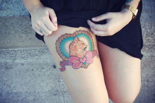 Cat portrait tattoo: Cats, Kitty Tattoo, Pet Portraits, Cute Cat Tattoo, Tattoo Inspiration, Cat Tattoos, Thighs Tattoo, Cat Portraits Tattoo, Tattoo Legs