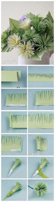 Grasbüschel aus Papier als Deko