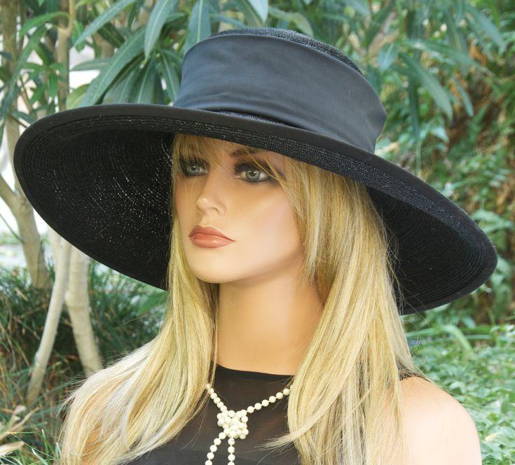 Black Wide Brim Hat, Derby Hat, Race Hat, Funeral Hat, Wedding Hat, Ascot Hat, Women's Black Hat, Formal Hat, Elegant Hat, Ladies Black Hat