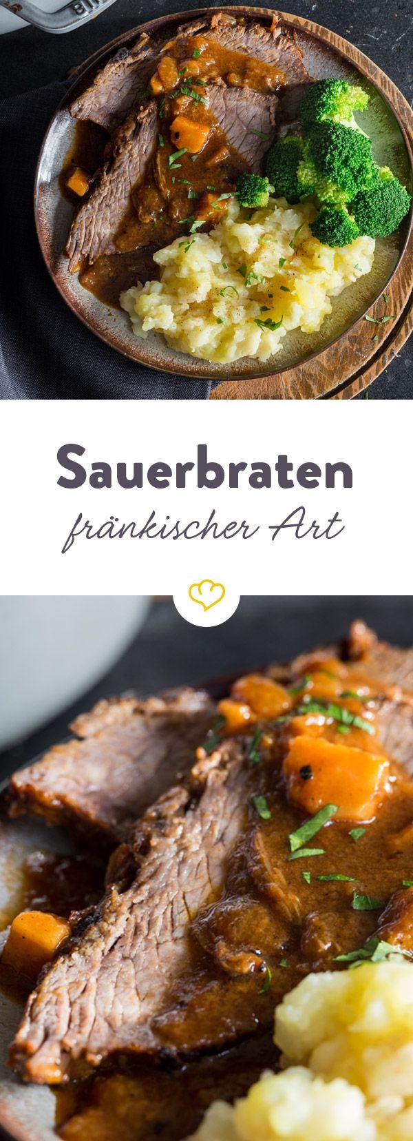 Ein Klassiker der deutschen Küche: Sauerbraten mit Rotweinbeize und Saucenlebkuchen. Willkommene Abwechslung zu Knödeln bringt Selleriepüree.