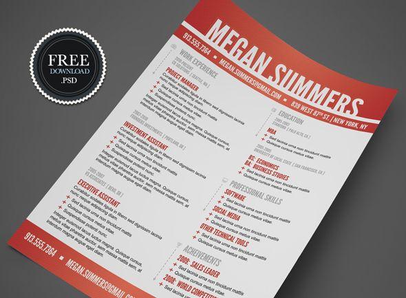 Modern Swiss Style Resume / CV PSD Template free via Cursive Q Designs